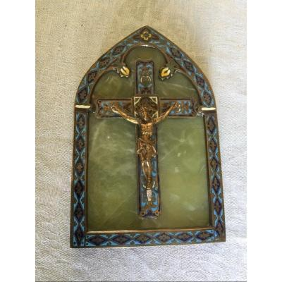 Crucify In Cloisonne Bronze And Onyx XIXth Time