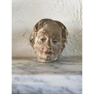 Head In Polychrome Limestone Eighteenth Time