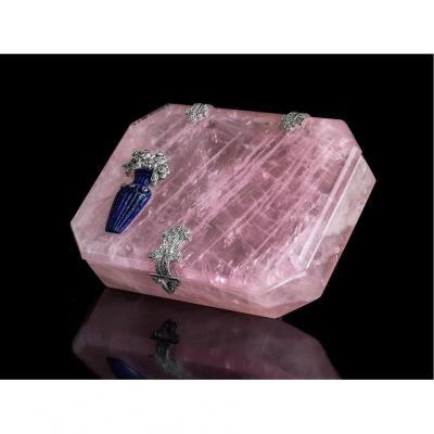 Boîte à tabac en quartz rose