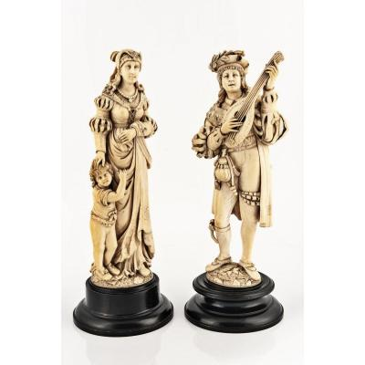 Pair Of Ivory Sculptures