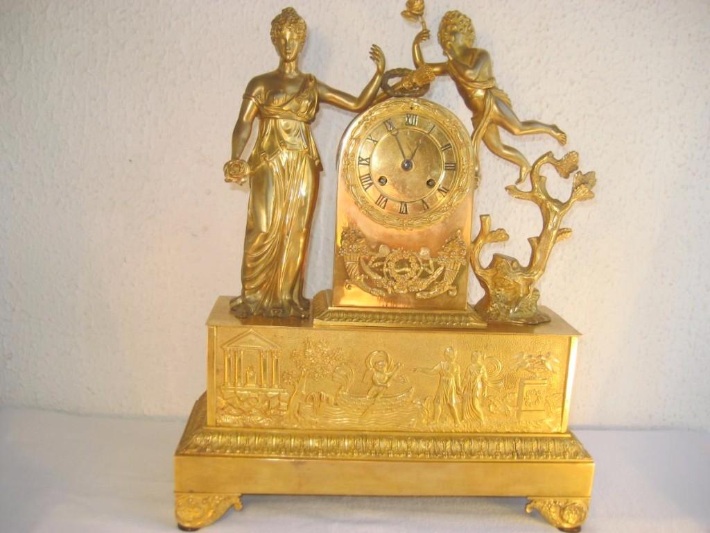 Pendulum Bronze Dore Empire Period, Temple Of Hymen