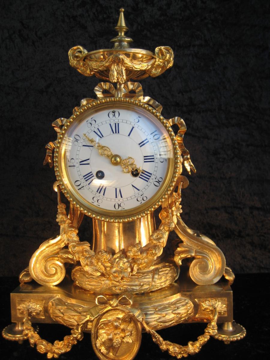 Pendule Bronze Dore XIXème
