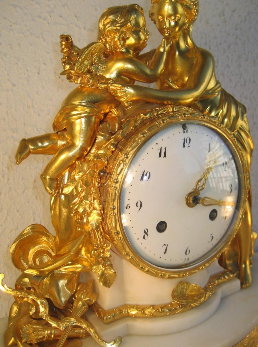Pendulum Louis XVI (psyche And Cupid) Gilt Bronze Movement Wire