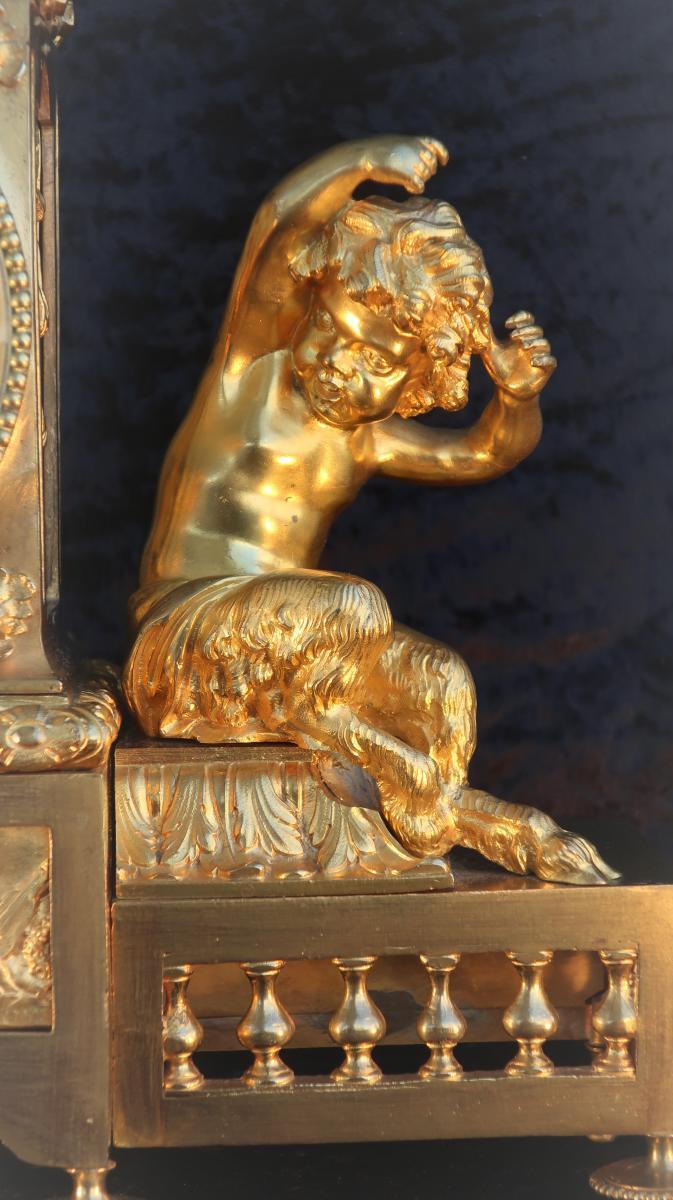 Pendule Bronze Dore Au Putto (faunes Mythologie Grecque)
