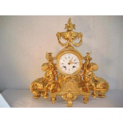 Pendule Du XIXème Napoleon III Bronze Dore Aux Amours