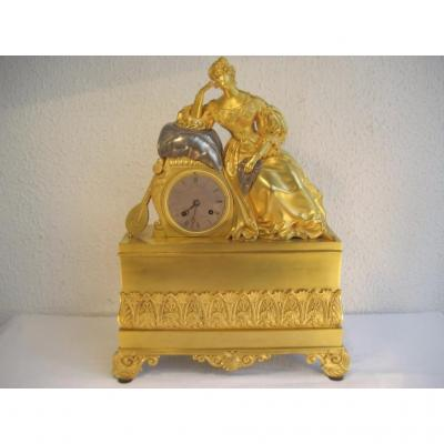 Pendule Époque Empire,Élégante De La Cour,bronze doré