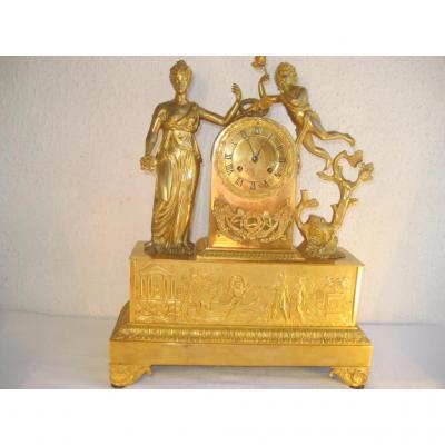 Pendule Bronze Dore Epoque Empire, TEMPLE DE L'HYMEN