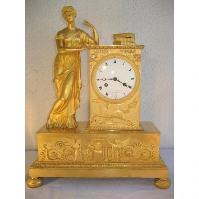 "Pendule Bronze Dore "" Homere  Virgile"" Epoque Empire"