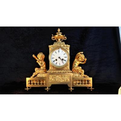 Dore Bronze Clock In Putto (faunas Greek Mythology)