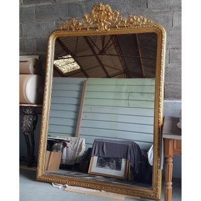 Grand Miroir Style Louis XV Doré A La Feuille
