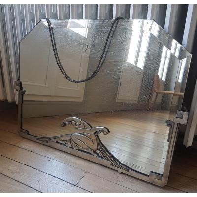 Miroir Art Deco  Bronze Argenté