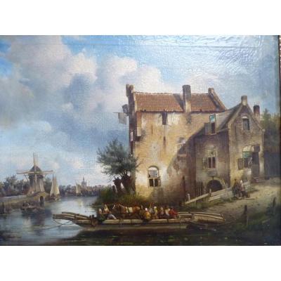 Bartholomeus Johannes Van Hove (1790-1880),paysage au moulin