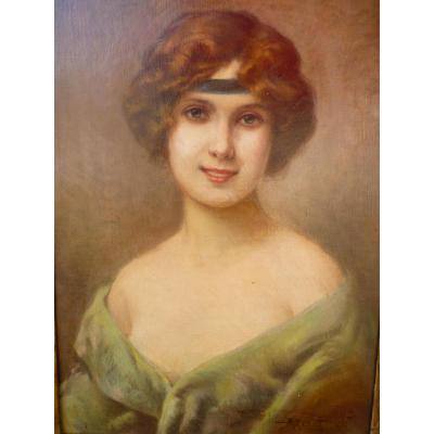 Albert Joseph Penot (1862-1930), Huile Sur Toile, Portrait De Femme
