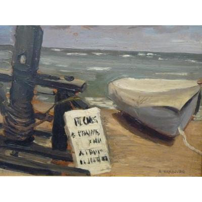 André Hambourg (1909-1999), Huile Signée, Etretat, Catalogue Raisonné