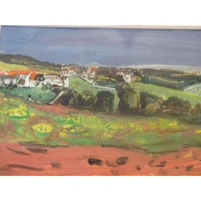 Henri Hayden (1883-1970), Aquarelle Gouache, Signée Datée 1960, Paysage