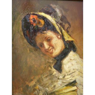 Emile Gallé (1846-1904),huile sur carton signée portrait de Loie Fuller