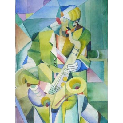 Imre Szobotka (1890-1961) Hongrie, Aquarelle Signée, Cubiste, Musicien, Expertisé