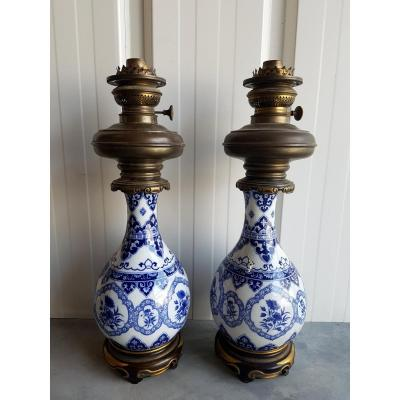 Pair Of Petroleum Lamps White Blue Nineteenth Century