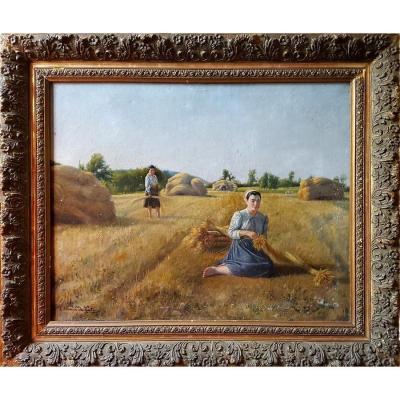 Large Oil On Canvas Painting By Edmond d'Assier De La Tour
