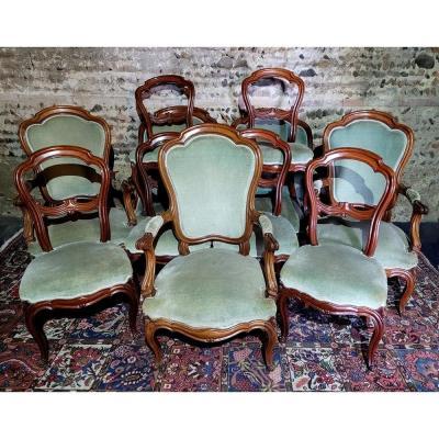 Ensemble De Salon 11 pièces d'époque Louis Philippe