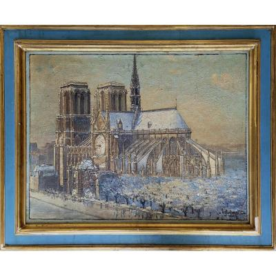 Table Early 20th Century Notre Dame De Paris Under The Snow
