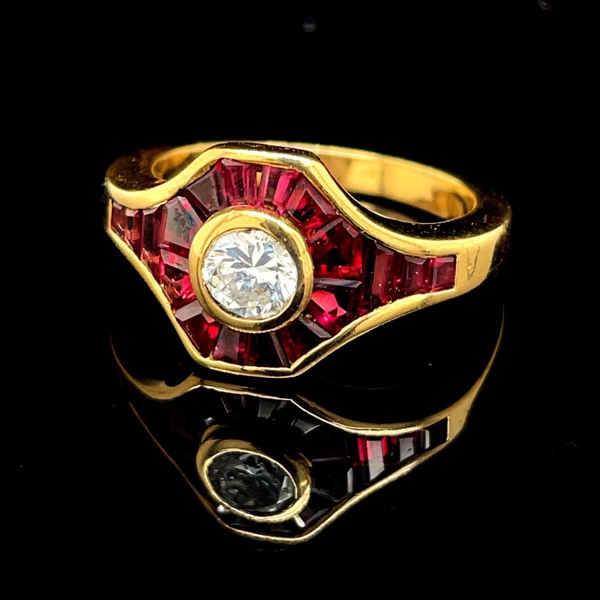 Yellow Gold Ruby Diamond Ring.