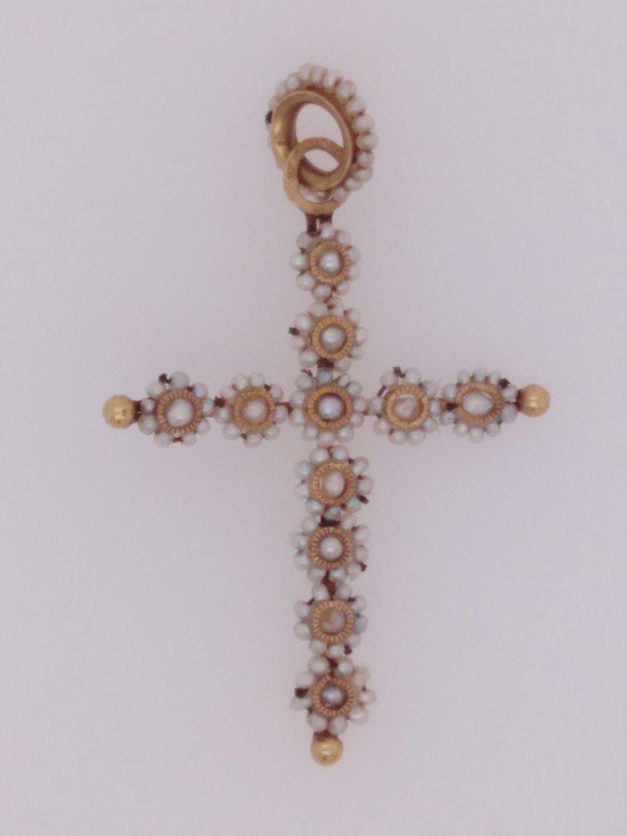 Croix Ancienne Or Et Perles Fines
