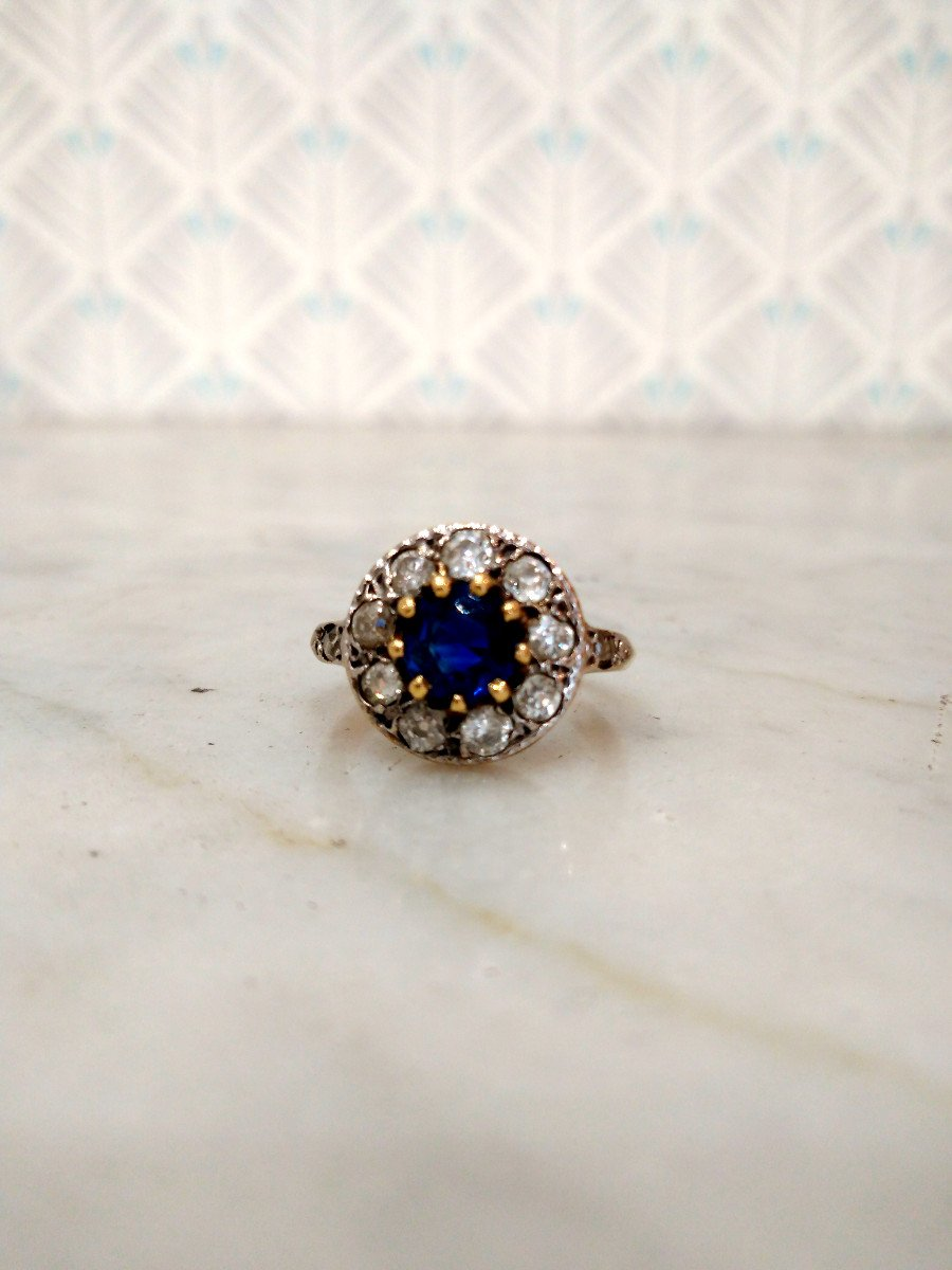 Pompadour Sapphire Diamonds Ring-photo-4