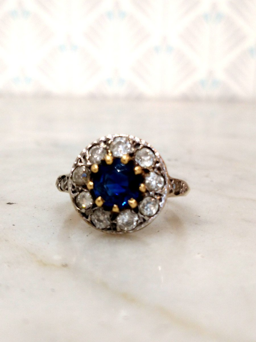 Pompadour Sapphire Diamonds Ring-photo-2