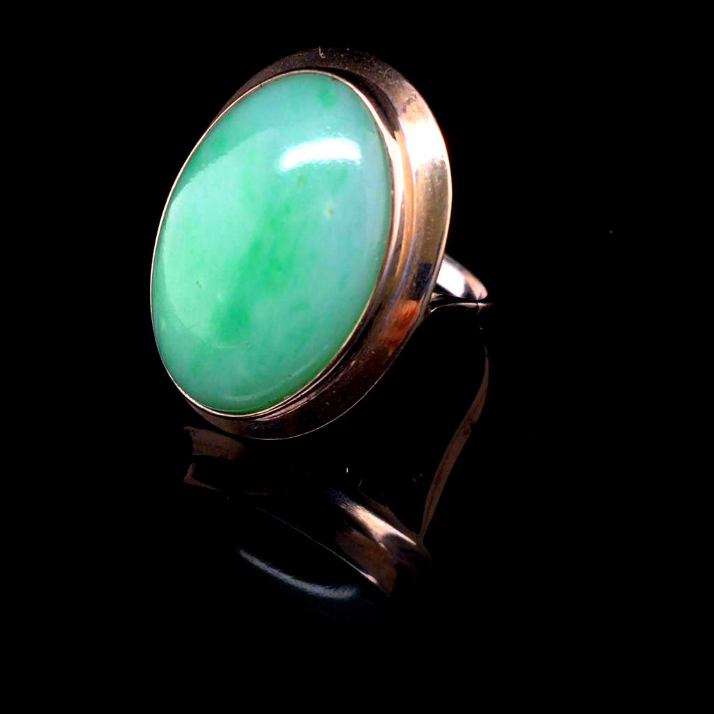 White Gold Jade Ring