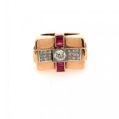 Bague Tank Or Rose Diamants Vers 1940
