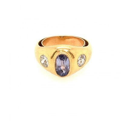 Bague Jonc Or Jaune Saphir Diamants
