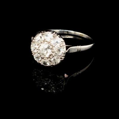 Bague Ancienne Maguerite Platine Diamants