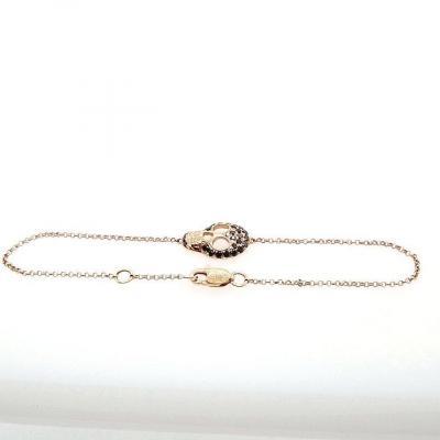 Bracelet Or Rose Diamants Noirs