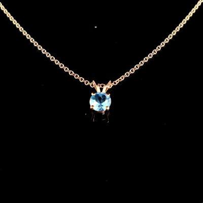 Pendant On Chain Gold Aquamarine