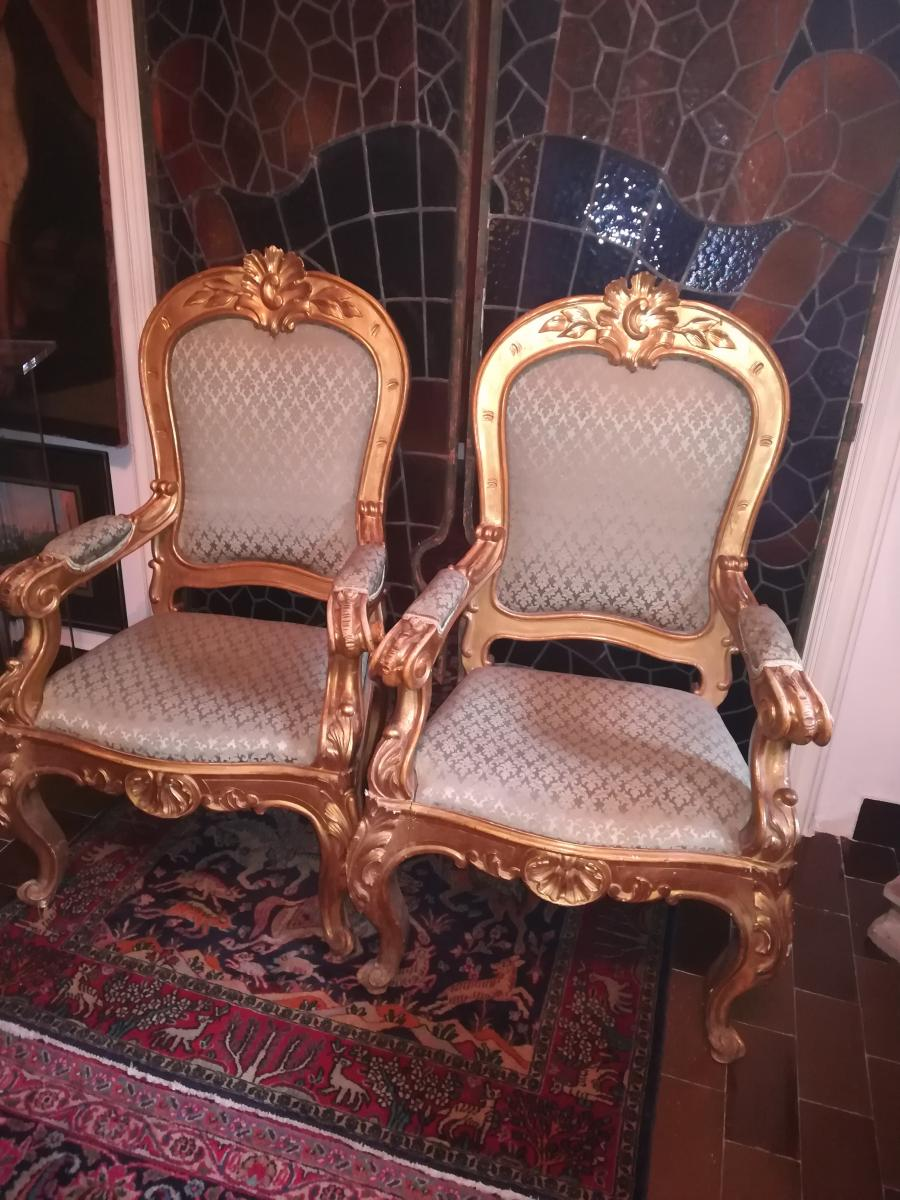 Two Armchairs Louis XV, Rome -italia 1840 Carved And Gilded Wood,