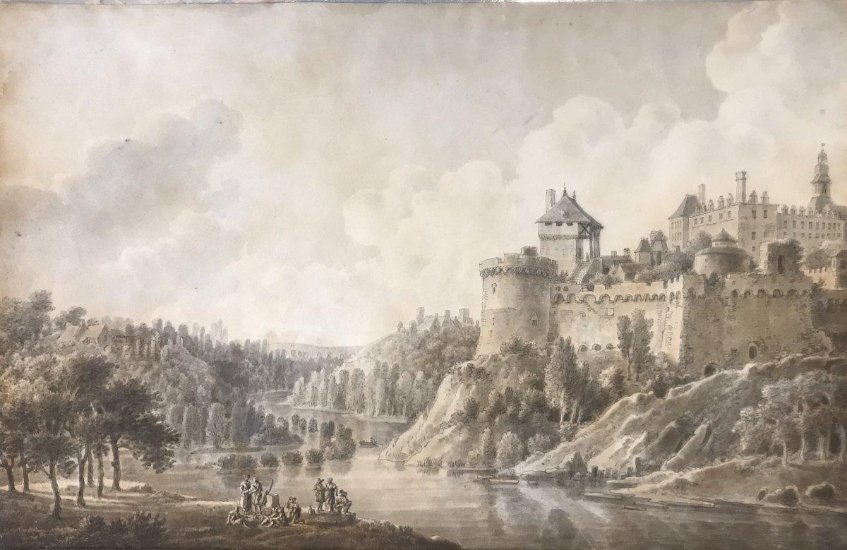Artiste français fin XVIIIe siècle- aquarelle-  paysage