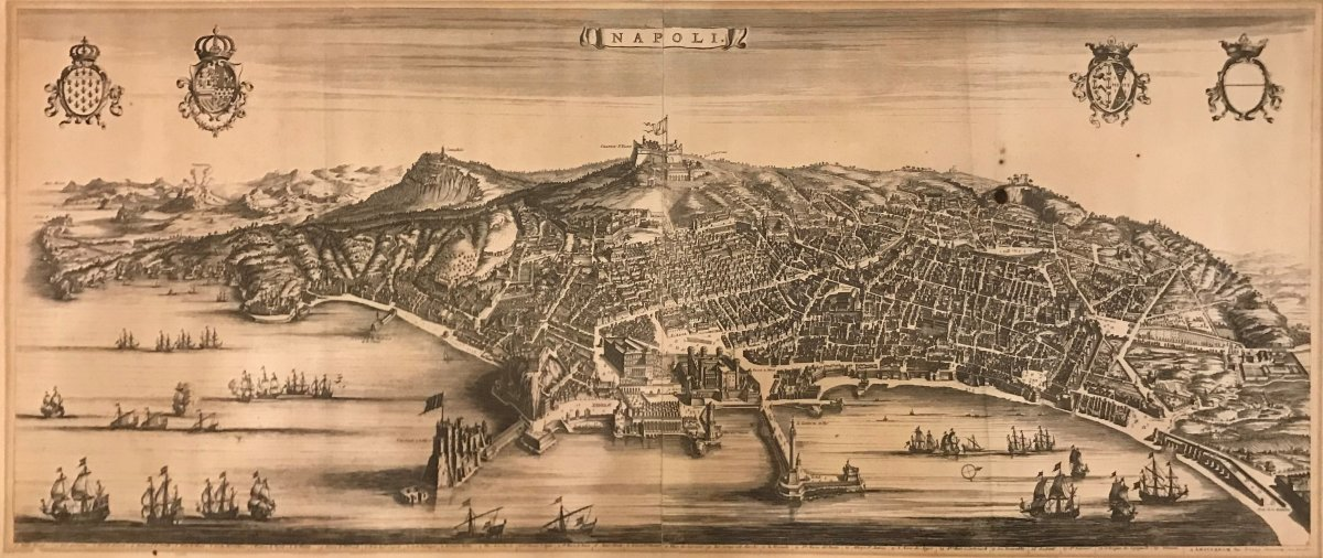 Pierre Mortier- Stopendaal - General View Of Naples -1704- Original Engraving-