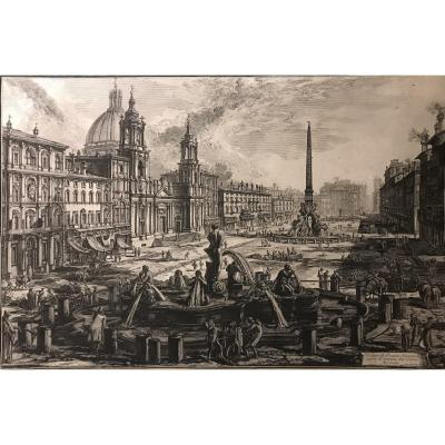G.B.Piranesi- Vue de la Place Navona  a Rome -1773- gravure originale- premiere etat