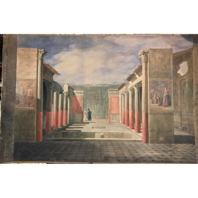 George Scharf- (december 16, 1820 - April 19, 1895) - View From Pompei- Signed