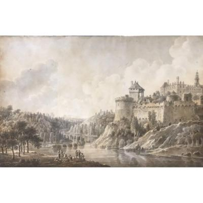 French Artist Late 18th Century- Watercolor- Landscape