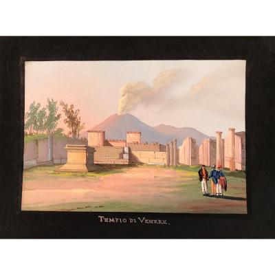 Mauton - Tempio Di Venere A Pompei- Gouache - 1830 Ca