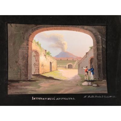 Mauton - Interno Dell'anfiteatro A Pompei- Gouache - 1830 Ca