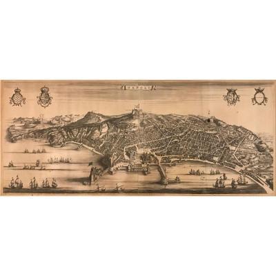 Pierre Mortier- Stopendaal - Vue Generale De Naples -1704- Gravure Originale-