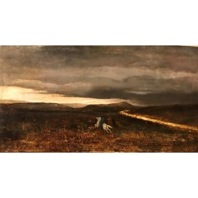 Georges Croegaert -Princesse Sissi dans la campagne romaine - 1870 huile