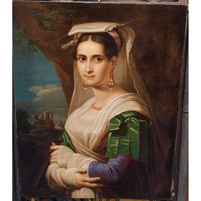 Ludwig Doell Femme d'Albano ... Ecole Allemande Première Moitié Du XIXe Siècle