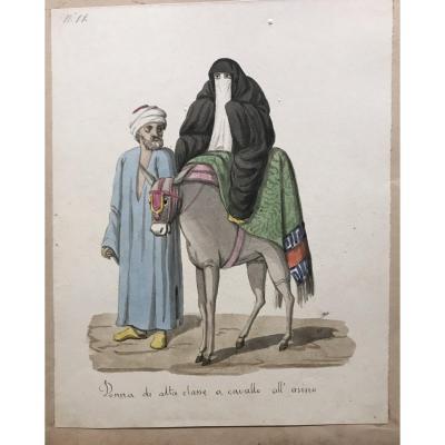Ecole italienne, suite de 12 costumes islamiques, aquarelles 1830 ca. Orientalisme