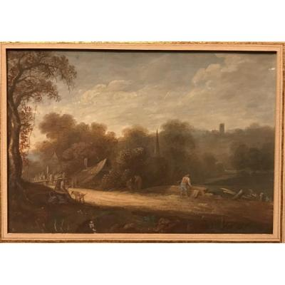 Northern European School - Landscape Painting On Paper - 18th Century -