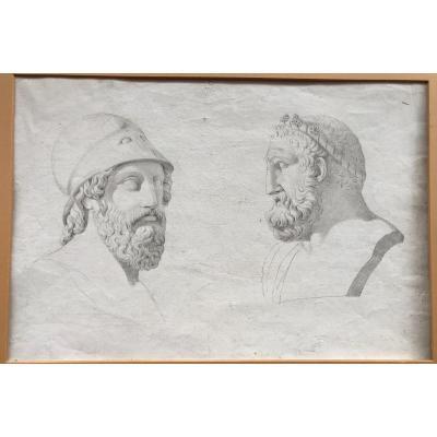 Ercole E Pericle - Dessin XVIII S. - Neoclassique-