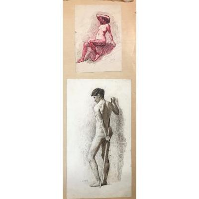 2 Academic China Drawing - Male And Female - 1911